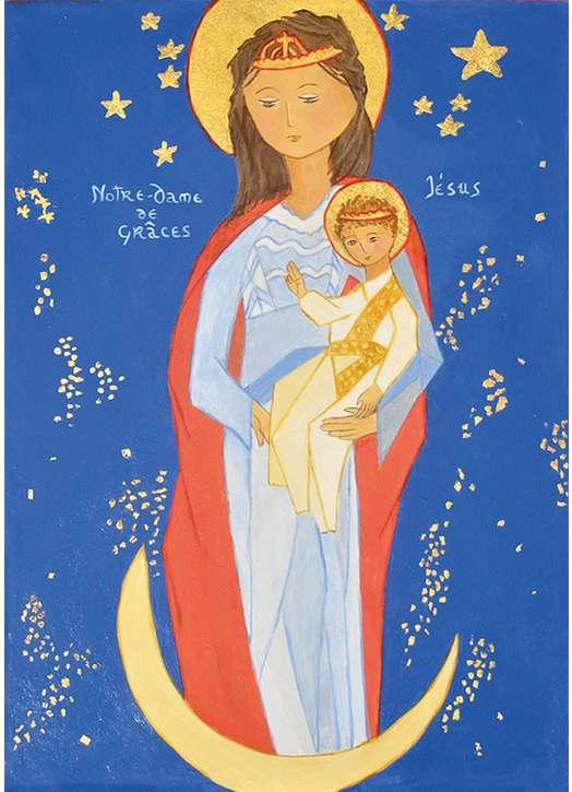 Icoon van Onze Lieve Vrouw van Graces met Sint-Michiel en Sint-Bernardus (Cotignac)