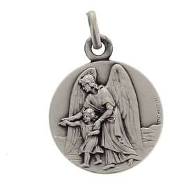 Medal of Guardian angel, sterling silver, 15 mm