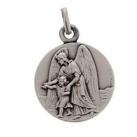 Medalla del Angel de la Guarda de plata maciza, 15 mm