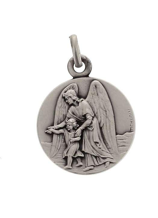 Medal of Guardian angel, sterling silver, 15 mm