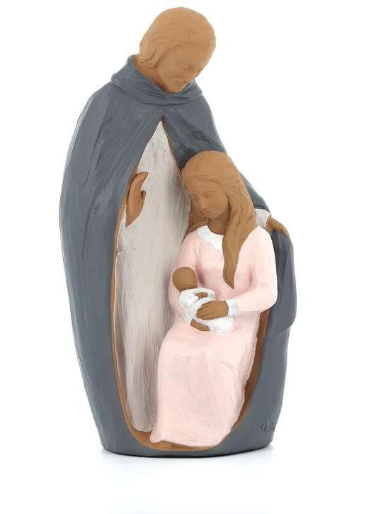 Statue de la Sainte Famille polychrome, 30 cm