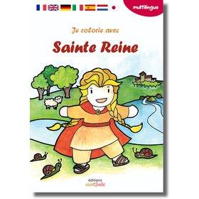 Je colorie avec sainte Reine, Multilingual coloring 7 languages