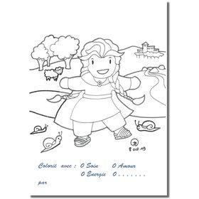 Cartes postales à colorier : l'enfance de sainte Reine (recto)
