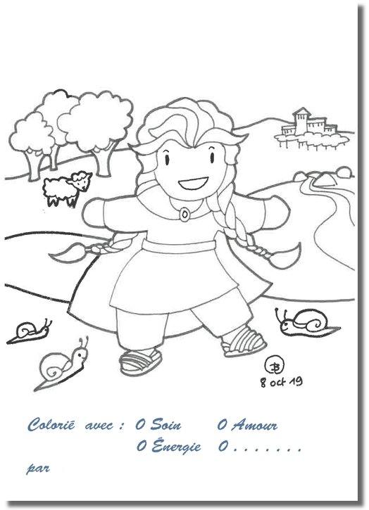 Coloring postcards: Saint Regina's childhood (recto)