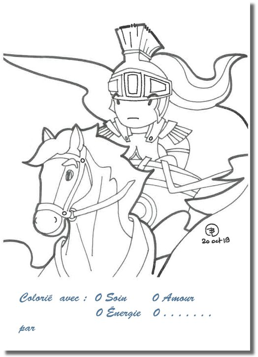 Coloring postcards: the arrival of Olibrius (Recto)