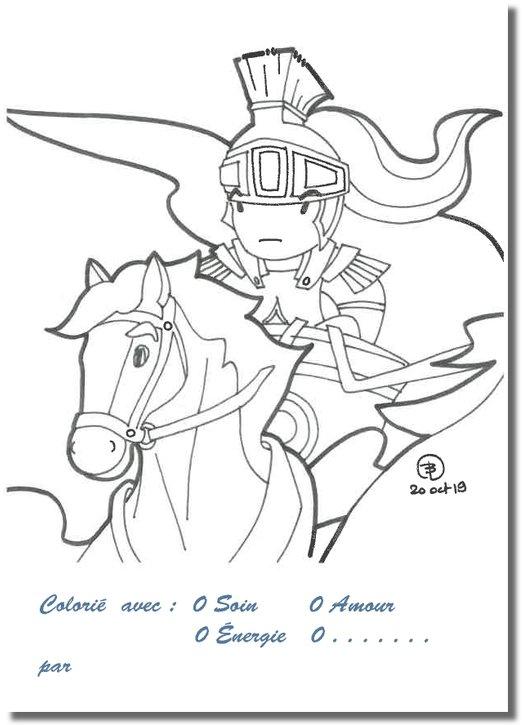 Cartes postales à colorier : l'arrivée d'Olibrius (Recto)