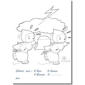 Cartes postales à colorier : les moines de Flavigny sauvent les reliques (Recto)