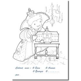 Postales para colorear: Ana de Austria (Recto)