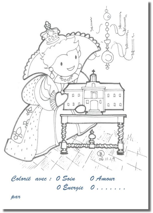 Cartes postales à colorier : Anne d'Autriche (Recto)