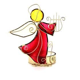 Photophore Ange avec harpe, en nacre (Photophore Ange en nacre - 1)