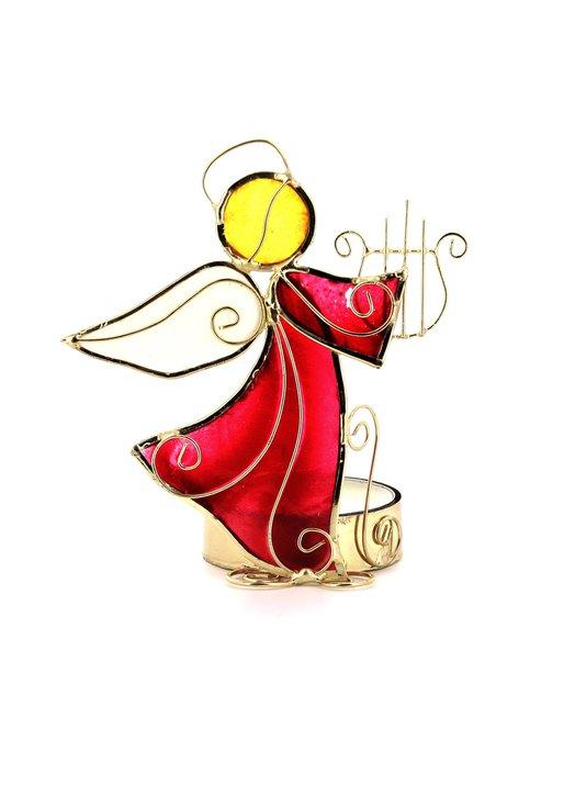 Candelabro ángel con arpa, en nácar (Photophore Ange en nacre - 1)