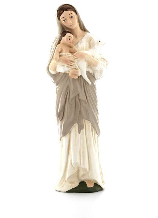 Virgin with Child and Lamb, 22 cm