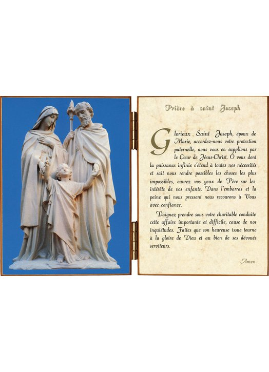 Diptych of The Holy Family with a prayer to St Joseph