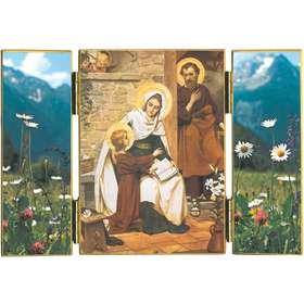 Tríptico de La Sagrada Familia en Nazaret con flores silvestres