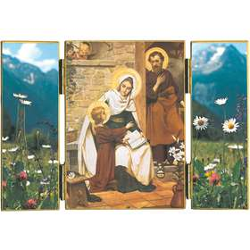 Triptych of The Holy Family of Nazareth with wildflowers