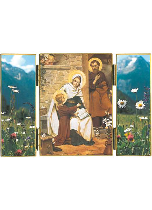 Triptyque de La Sainte Famille de Nazareth avec fleurs des champs