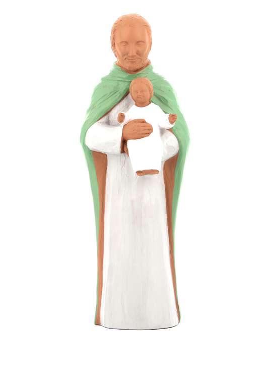 Standbeeld van heilige Joseph met de Kind Jesus -  polychroom, 28,5 cm