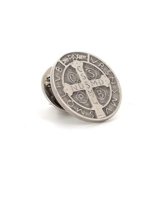Sterling silver Saint Benedict pin, 16 mm