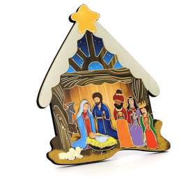 Icon of the Nativity with the Three Wise Men in the shape of a Christmas nativity scene
