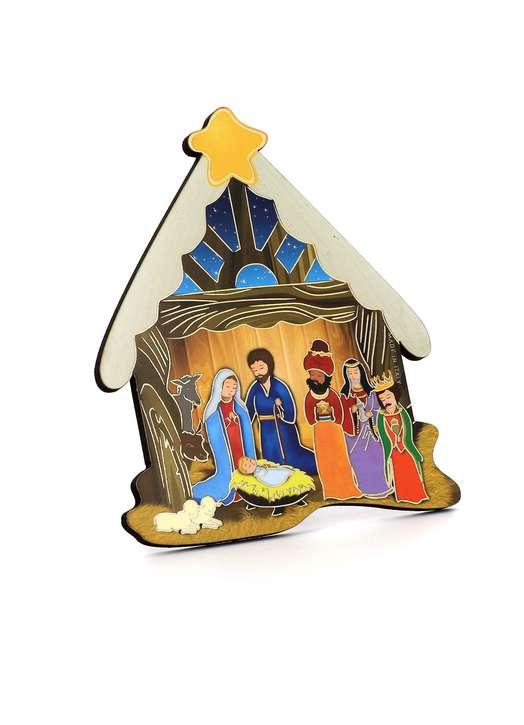 Icône de la Nativité avec les rois Mages en forme de crèche de Noël