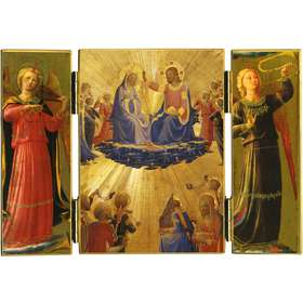 Triptych of The Coronation of Mary in golden background
