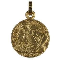 Medaille van Sint-Jozef handwerksman verguld - 16 mm