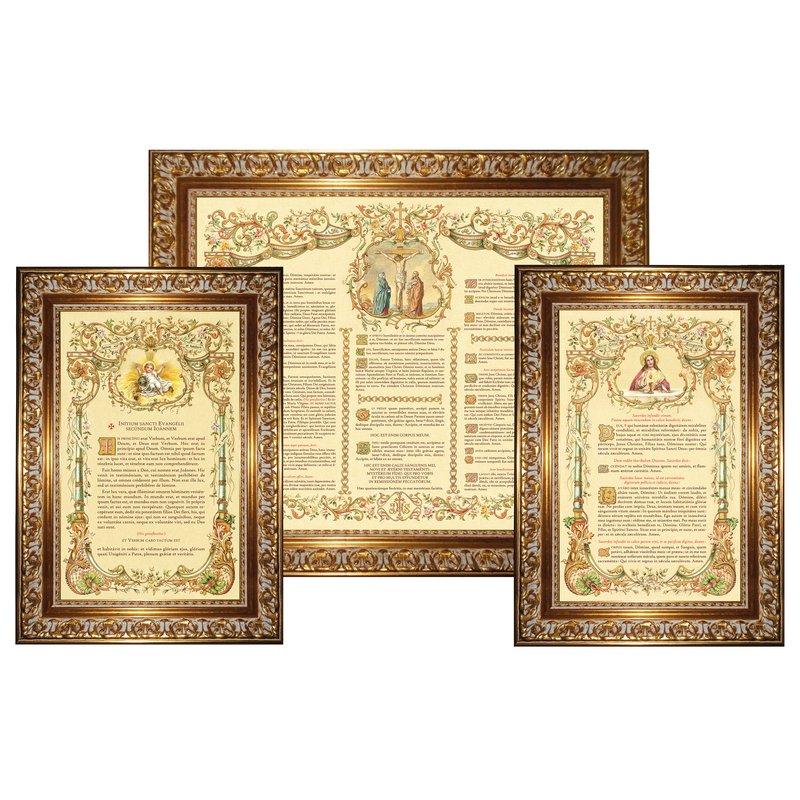"""Canons d'autel """"Or"""" avec large moulure (L'ensemble des 3 canons)"""
