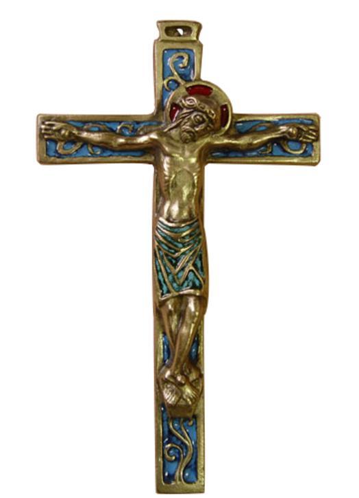 Crucifix en bronze émaillé
