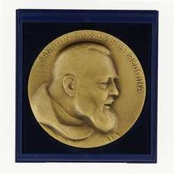 Medalla del Padre Pío (bronce patinado) - 7 cm