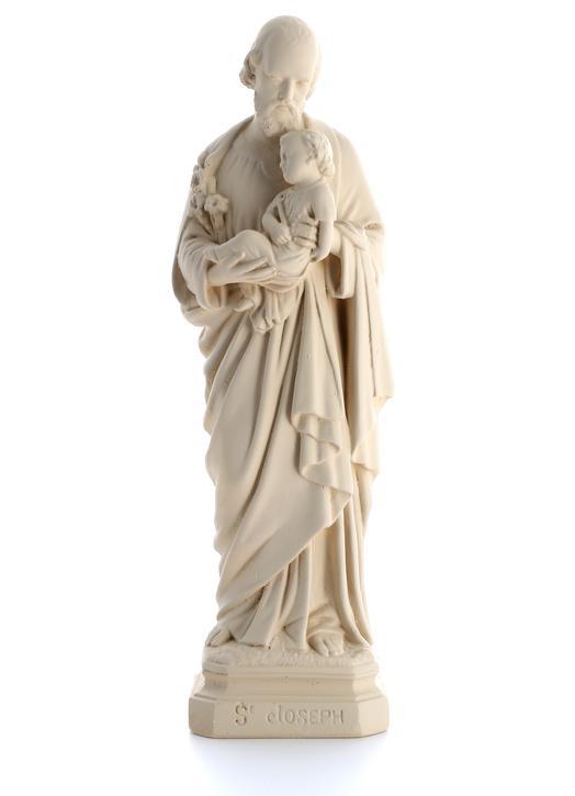 Statue de saint Joseph, ton pierre 20 cm (Vue de face)