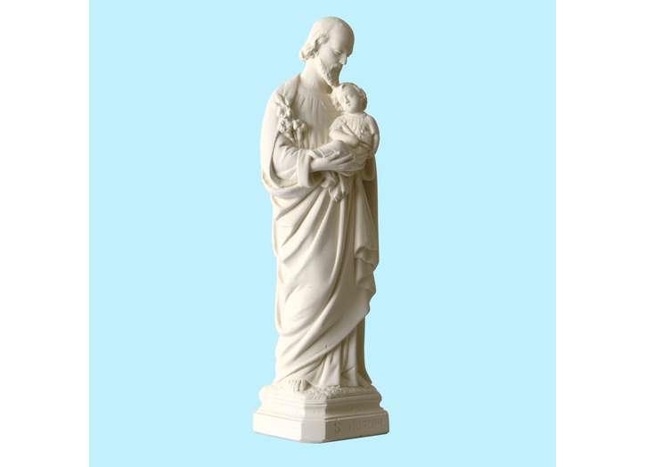 Statue de saint Joseph, ton pierre 20 cm (Vue du profil droit en biais)