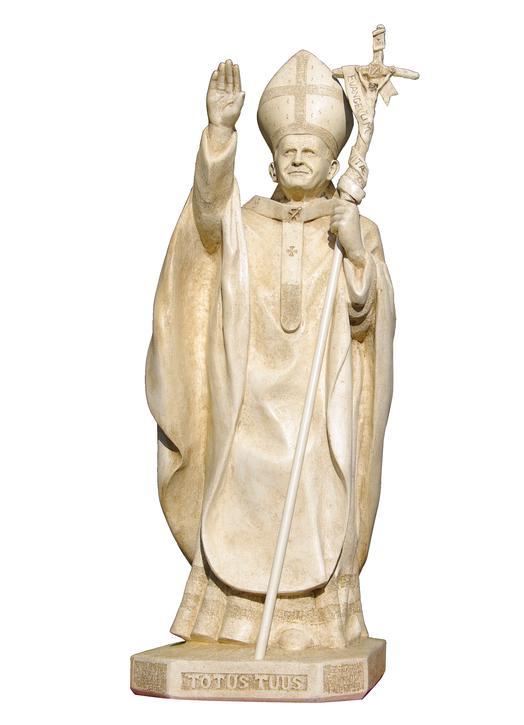 Jean-Paul II (1920-2005) - couleur vieil ivoire, 130 cm (Vue de face)