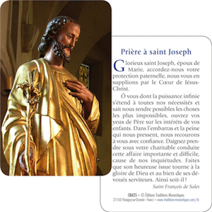 carte prière de saint Joseph avec une prière