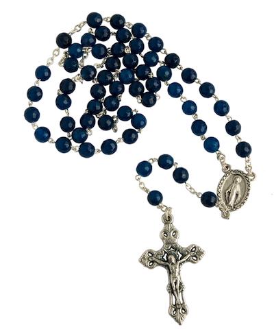 Chapelet perle agathe bleue