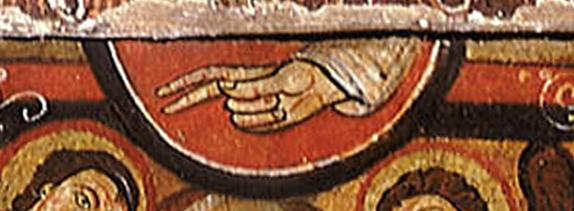 Crucifix de saint Damien :détail de la main du Père