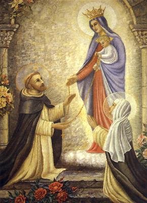 Saint Dominique recevant le rosaire des mains de la sainte Vierge