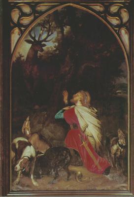 Icône de saint Hubert avec le cerf