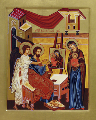 Icône de saint Luc peignant l'icône de la Vierge