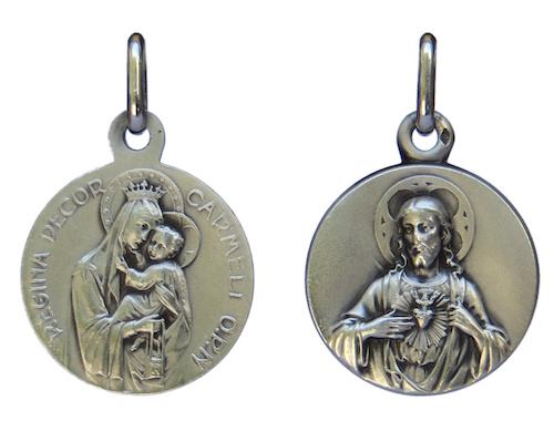 Médaille scapulaire en argent massif 750/1000