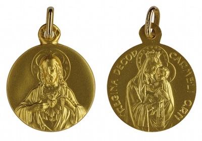 Médaille du scapulaire en or massif 18 carats