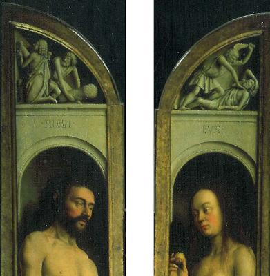 Adam, Eve, Caïn et Abel du retable de van Eyck